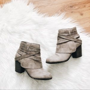 Fall Faux Leather Booties with Criss-Cross Detail